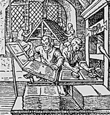 Renaissance period illustration of a printing shop using a Guttenburg Press